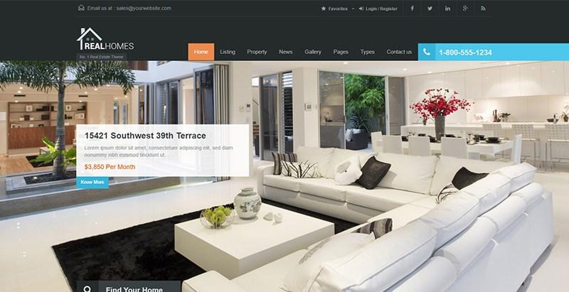 Real homes theme wordpress site internet multilingue