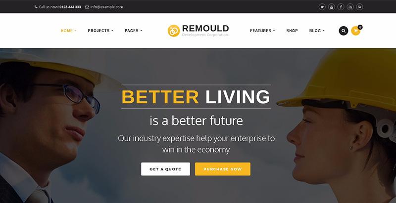 Remould themes wordpress creer site internet entreprise construction