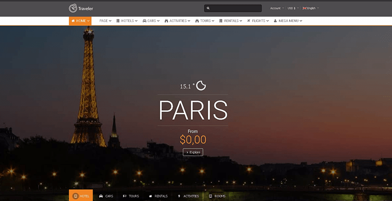 Traveler themes wordpress creer site web voyages agence tour operateur