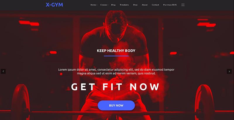 meilleurs thèmes WordPress de club de fitness - X gym
