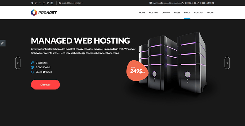Prohost themes wordpress creer site internet entreprise hebergement web vps