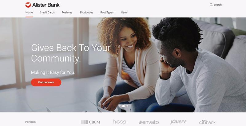 Alister bank themes wordpress creer site web agence entreprise pme