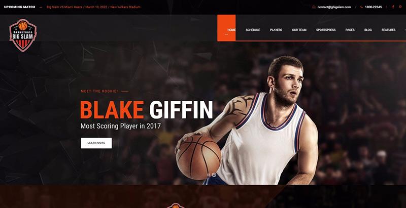 Big slam themes wordpress creer site web club sport fotball soccer basketball