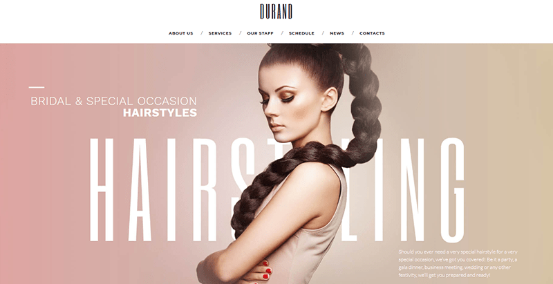 Durand themes wordpress site web coiffeur