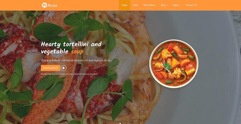 Resta 테마 WordPress 웹 사이트 만들기 레스토랑 카페 피자 가게