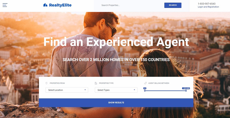 Realtyelite themes wordpress creer site internet entreprises immobilieres
