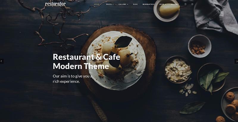 Restorator 테마 WordPress 웹 사이트 만들기 레스토랑 카페 피자 가게