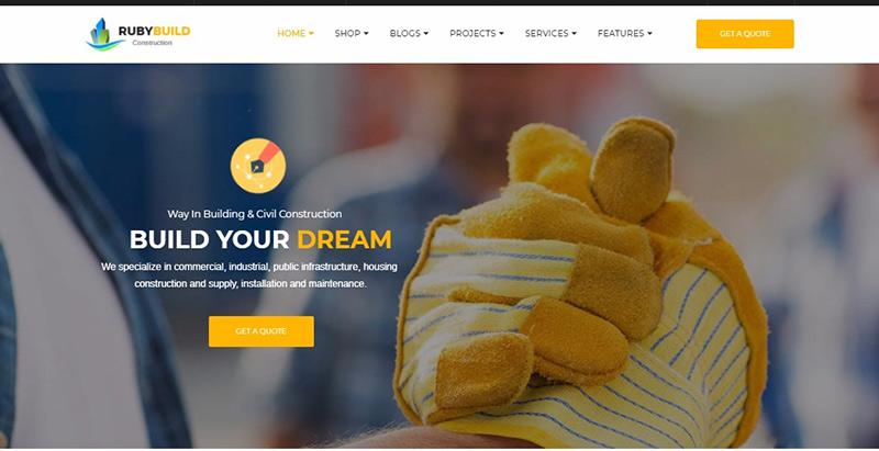 Rubybuild Themes Wordpress Creer Site Internet Entreprise Construction