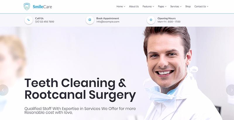 Smilecare themes wordpress creer site internet dentiste medecin