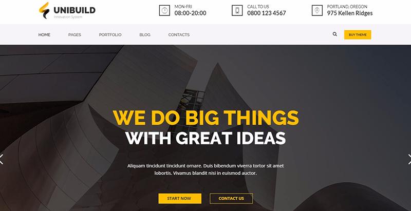 Unibuild themes wordpress creer site web internet entreprise pme startup