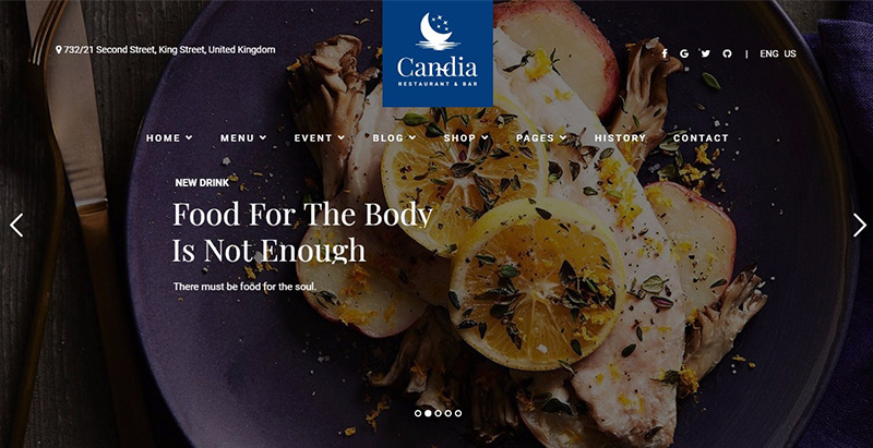 Candia themes wordpress creer site web restaurant cafe boulangerie