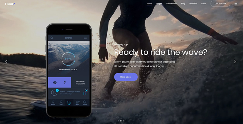 Fluid themes wordpress creer site internet application mobile one page