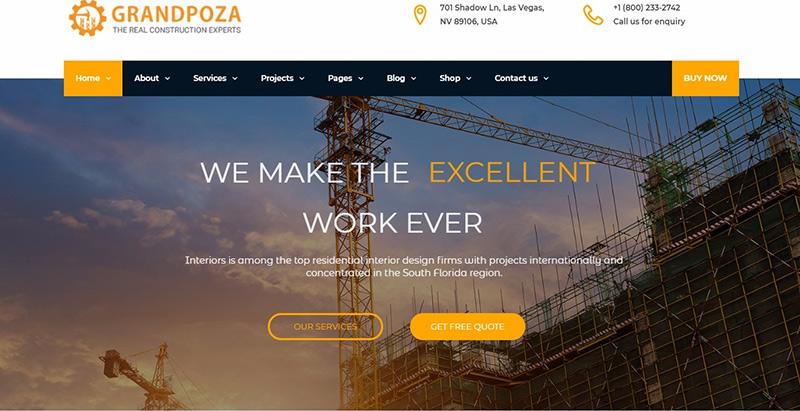 Grandpoza themes wordpress creer site internet entreprise renovation