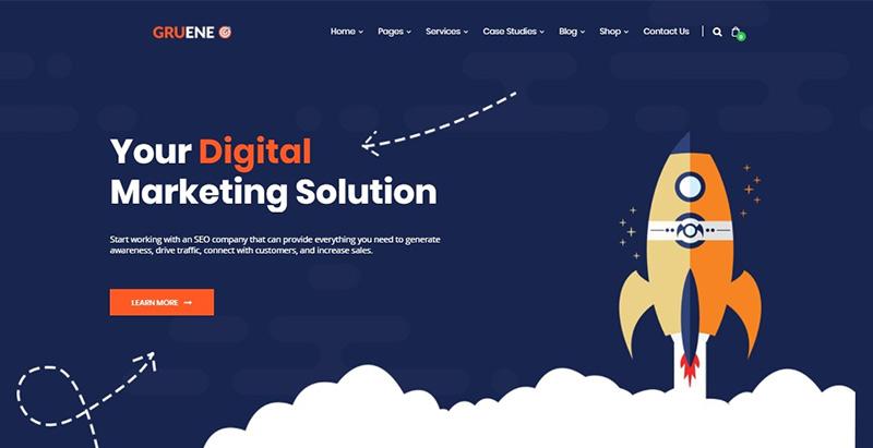 Gruene themes wordpress creer site web agence marketing entreprise