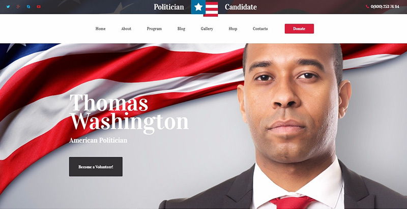 Politician candidate themes wordpress creer site internet parti politique