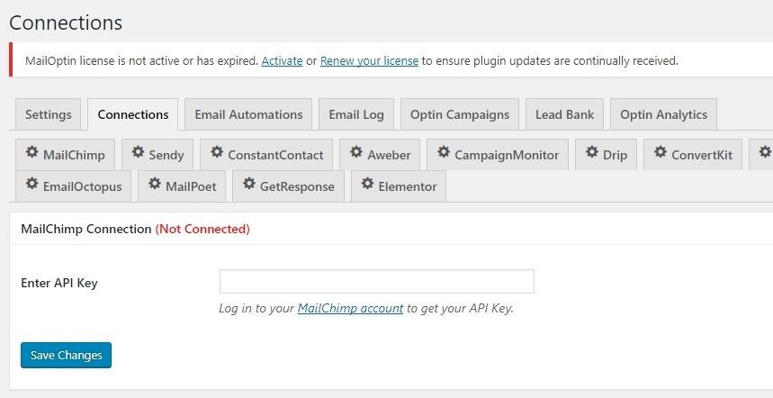 configurações mailoptin integrations.jpeg