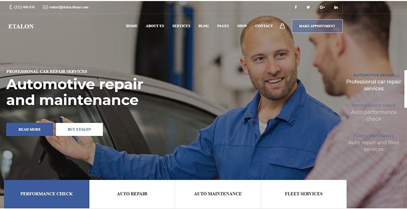 Etalon themes wordpress creer site web garage automobile atelier mecanique
