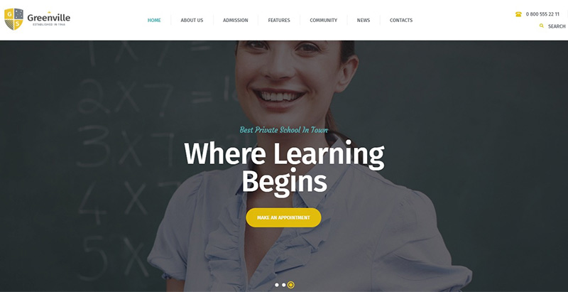 Greenville themes wordpress creer site internet elearning education formation