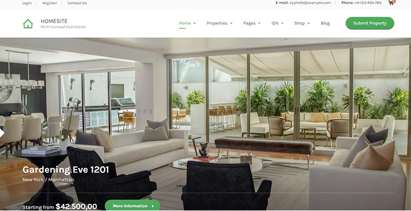 Homesite themes wordpress creer site internet agence entreprise immobiliere
