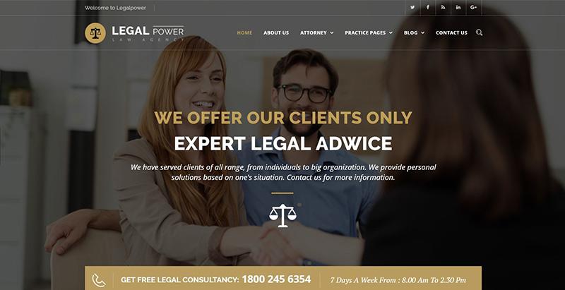 Legal powerthemes wordpress creer site internet avocat procureur juge