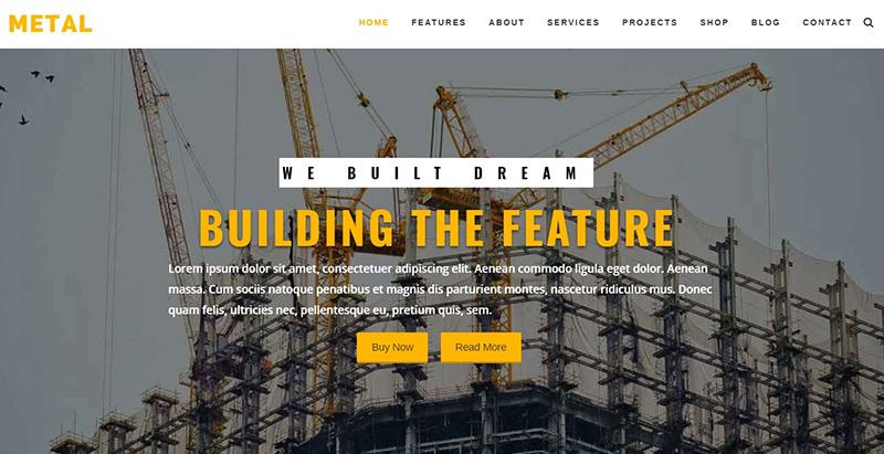 Metal themes wordpress creer site internet entreprise construction business