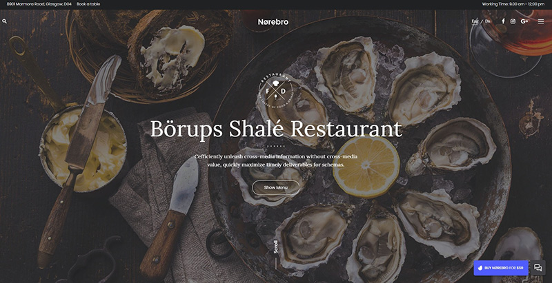 Norebro themes wordpress creer site internet restaurant restaurateur