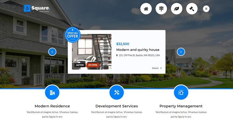 Square themes wordpress criar site de agência imobiliária