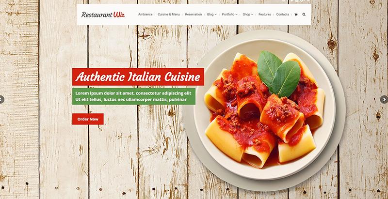 Wiz themes wordpress creer site internet restaurant café resto pizzeria