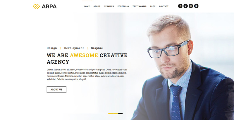 Arpa themes wordpress creer site web start up entreprise agence