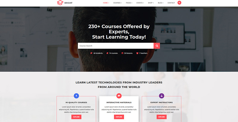 Bright themes wordpress creer site internet e learning