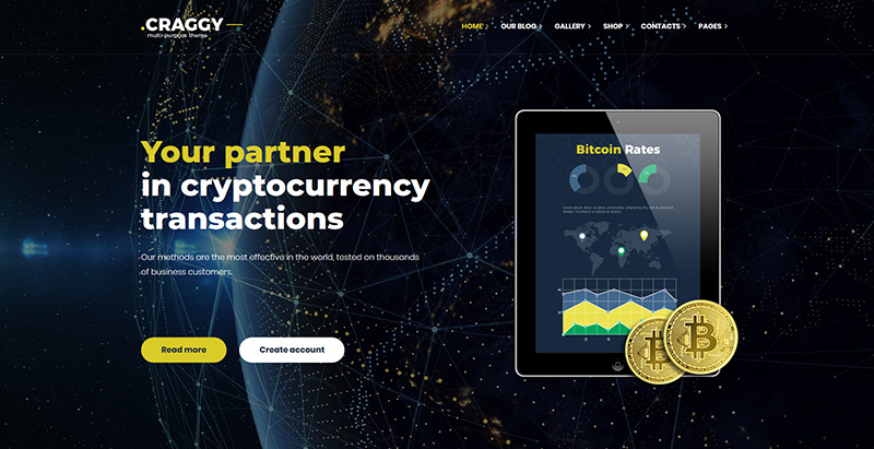 Craggy themes wordpress creer site web entreprise crypto monnaie devise