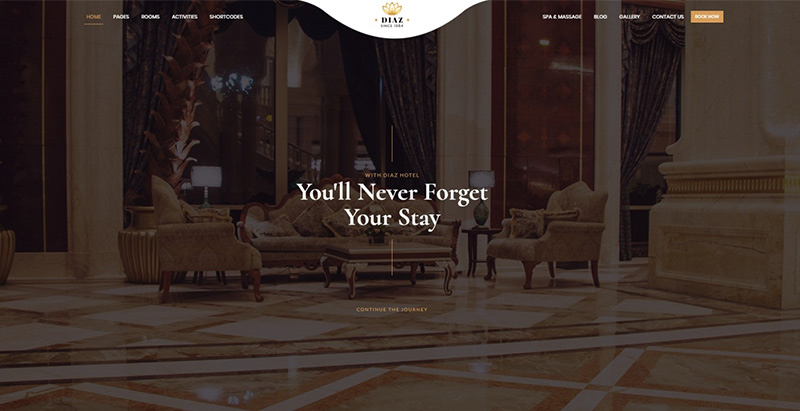 meilleurs thèmes WordPress d'hôtel -Diaz luxury