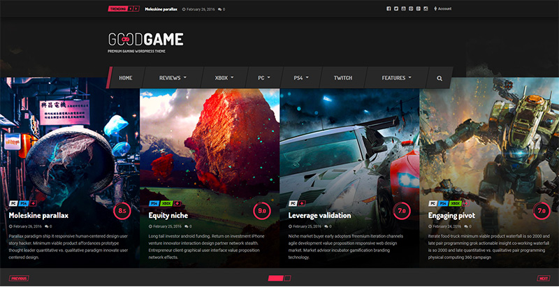 Goodgame Themes Wordpress Creer Site Internet Esport Jeux Videos