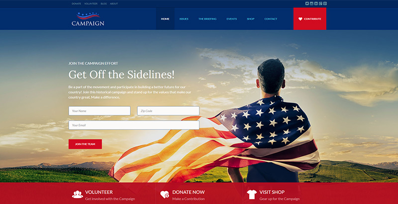Home campaign themes wordpress creer site internet parti politique