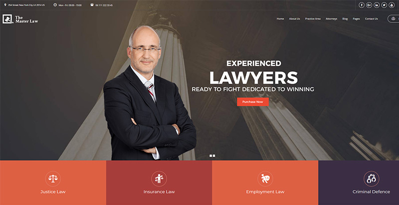 Lawyer wpthemes wordpress creer site web cabinet avocat procureur juge notaire