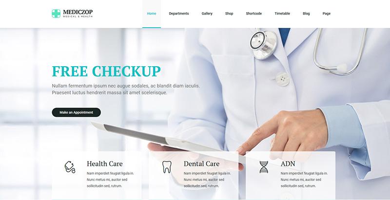 Mediczop themes wordpress creer site web hopital medecin clinique