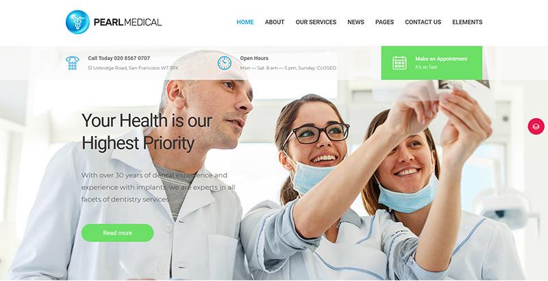 Pearl themes wordpress creer site web hopital medecin clinique