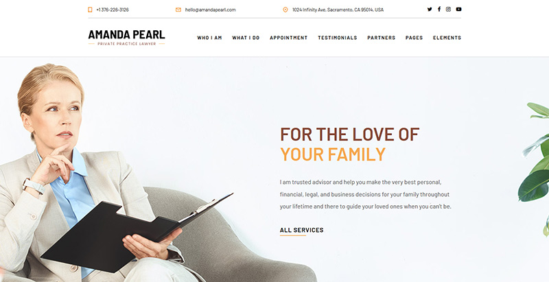 Pearlthemes wordpress creer site web cabinet avocat procureur juge notaire