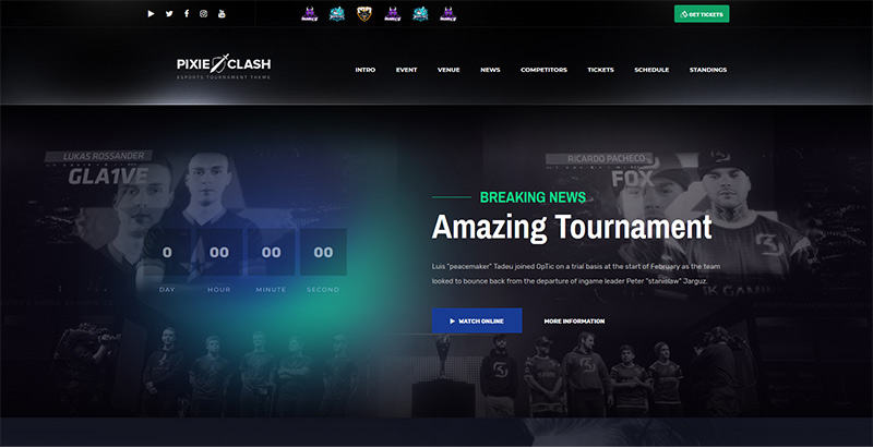 Pixiesquad themes wordpress creer site internet esport jeux videos