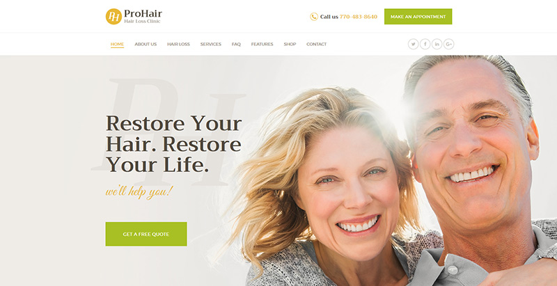 Prohair themes wordpress creer site internet salon coiffure