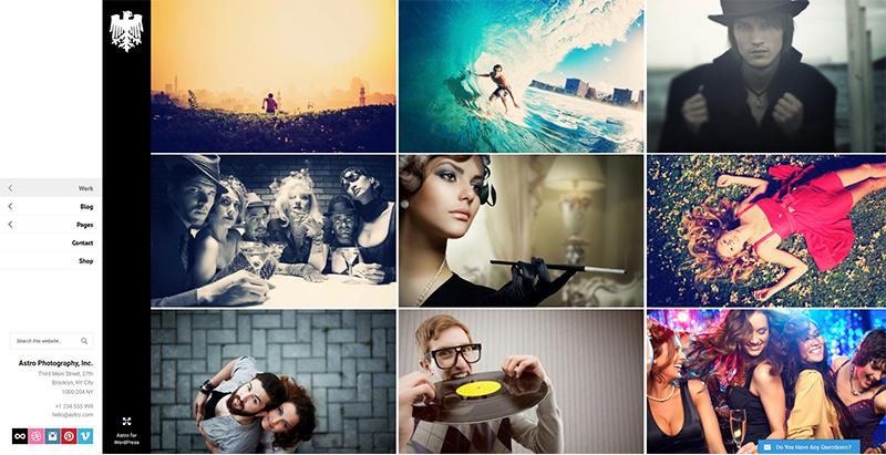 Астро темы WordPress создать сайт портфолио фотограф художник