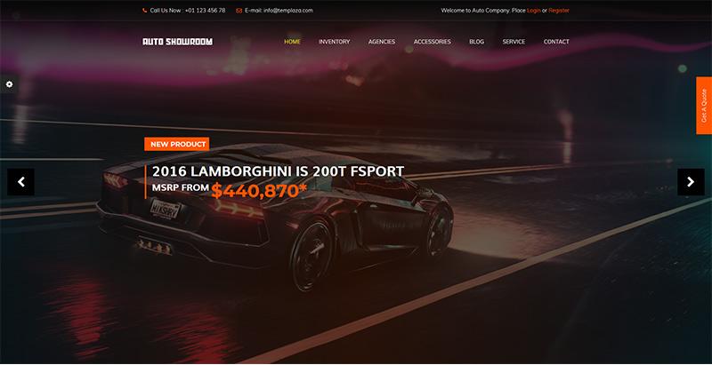 Auto showroom themes wordpress creer site web vente achat voitures