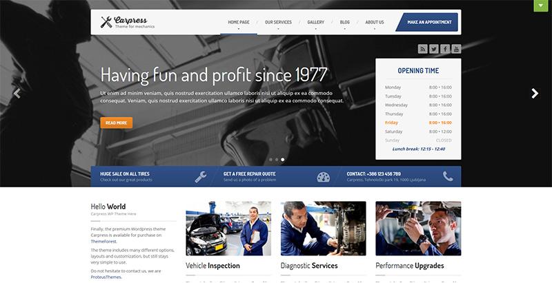 Carpress themes wordpress creer site web vente achat voitures