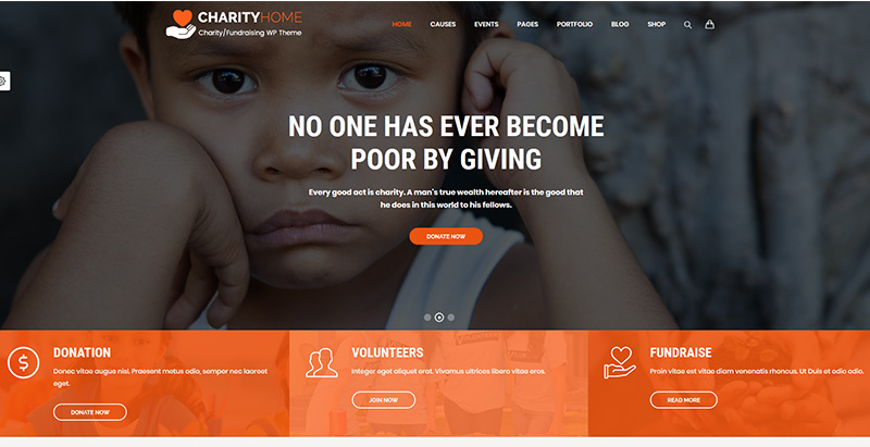 Charity home themes wordpress create website charity his humanitarian