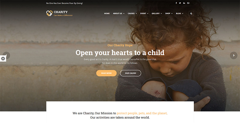 Charity themes wordpress creer site internet charite son humanitaire
