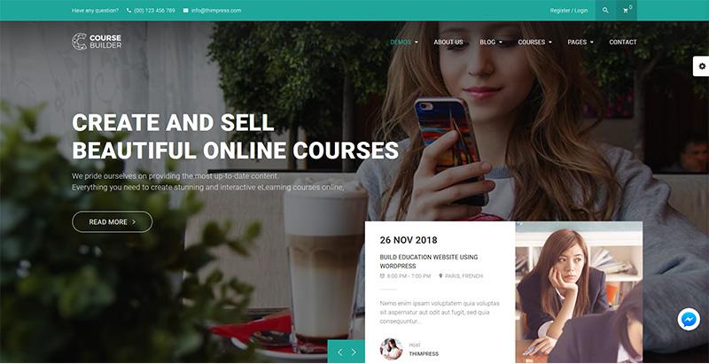 Course builder themes wordpress creer site internet educatif e learning education