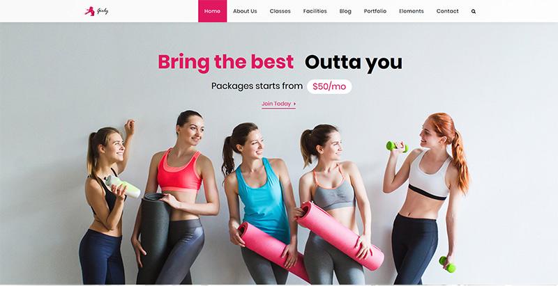 Girly gym themes wordpress creer site web club fitness gym sport