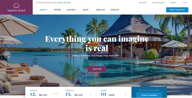 Hotel wp themes wordpress creer site internet hotel motel auberge