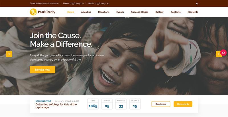 Pearl themes wordpress creer site internet charite son humanitaire