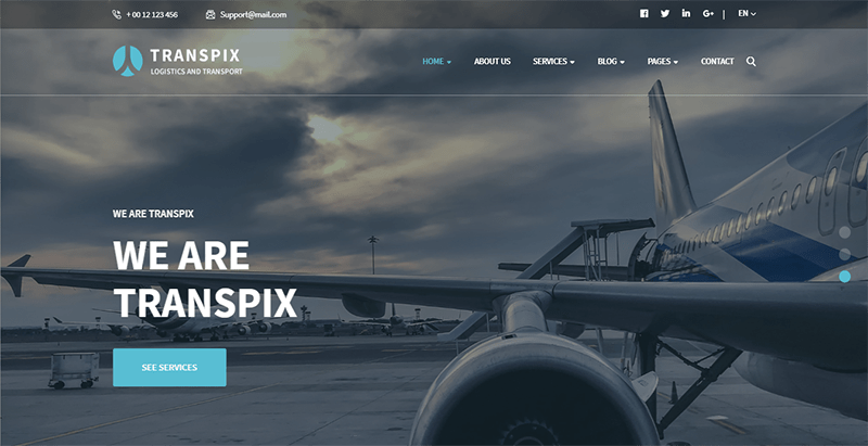 Transpix theme wordpress creer site web entreprise transport logistique